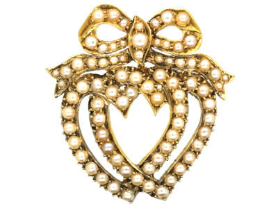 Edwardian 14ct Gold & Natural Split Pearl Double Heart Brooch