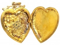 9ct Back & Front, Gold Turquoise & Natural Split Pearl Heart Shaped Locket