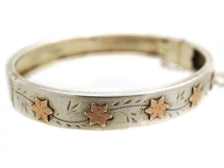 Child's Silver & Gold Overlay French Bangle
