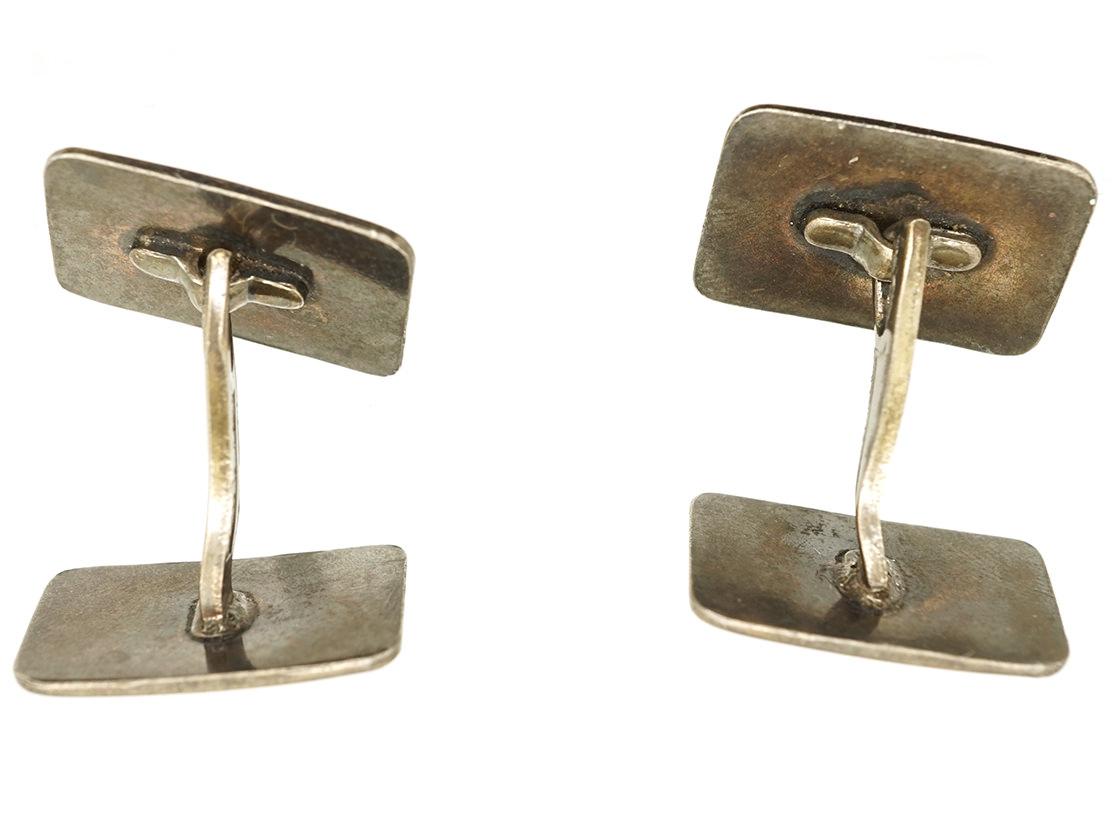 Norwegian Silver & Enamel Cufflinks by Elvik Co