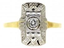 18ct Gold & Platinum Art Deco Rectangular Diamond Ring