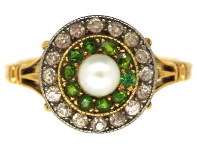 Edwardian 18ct Gold, Green Garnet, Diamond & Pearl Target Ring