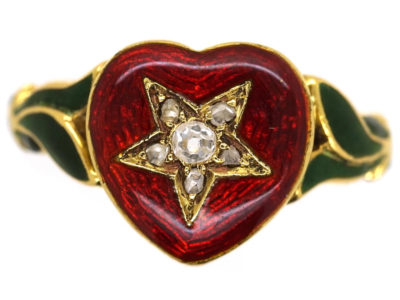 18ct Gold Red & Green Enamel & Diamond Heart Shaped Ring
