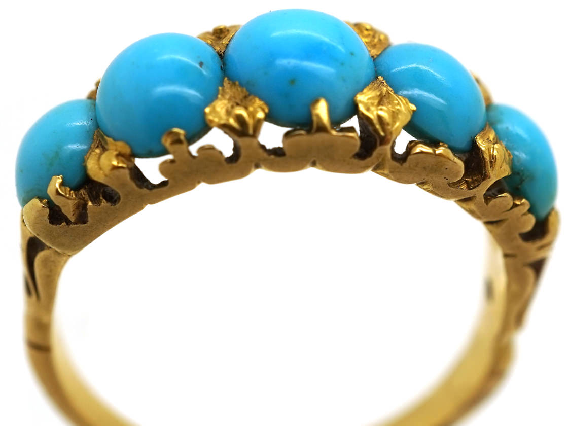 Victorian 18ct Gold Five Stone Turquoise Ring