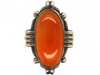 Art Deco Silver & Carnelian Oval Ring