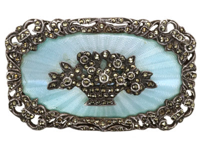 Art Deco Silver, Pale Blue Enamel & Marcasite Flower Basket Brooch