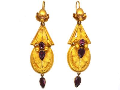 Victorian 15ct Gold & Almandine Garnet Drop Earrings