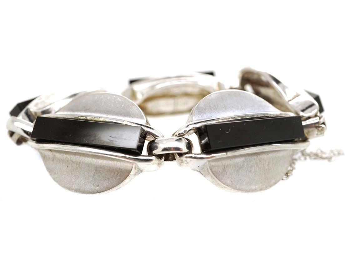 1960s Onyx & Silver Bracelet