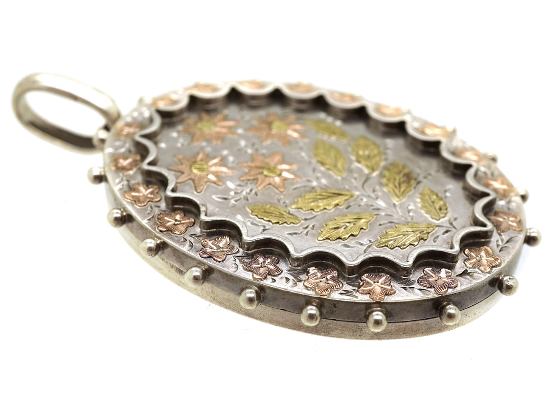Victorian Silver & Gold Overlay Flowers Motif Locket