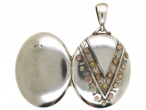 Victorian Silver & Gold Overlay V Design Oval Locket