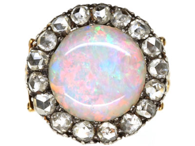 Edwardian 18ct Gold, Large Opal & Rose Diamond Cluster Ring
