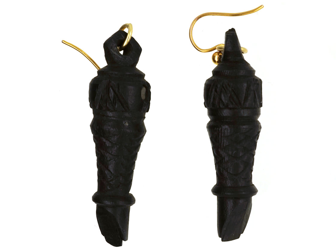 Victorian Bog Oak & Stanhope Whistle Drop Earrings