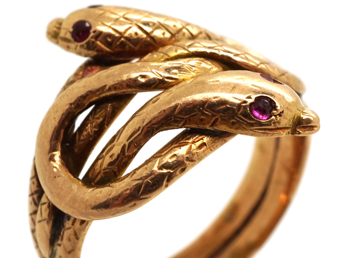 Victorian 15ct Gold Double Snake Ring with Ruby Eyes
