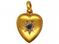 Edwardian 15ct Gold, Sapphire & Diamond Heart Pendant
