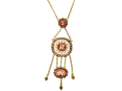 Georgian 18ct Gold & Topaz Pendant on Chain