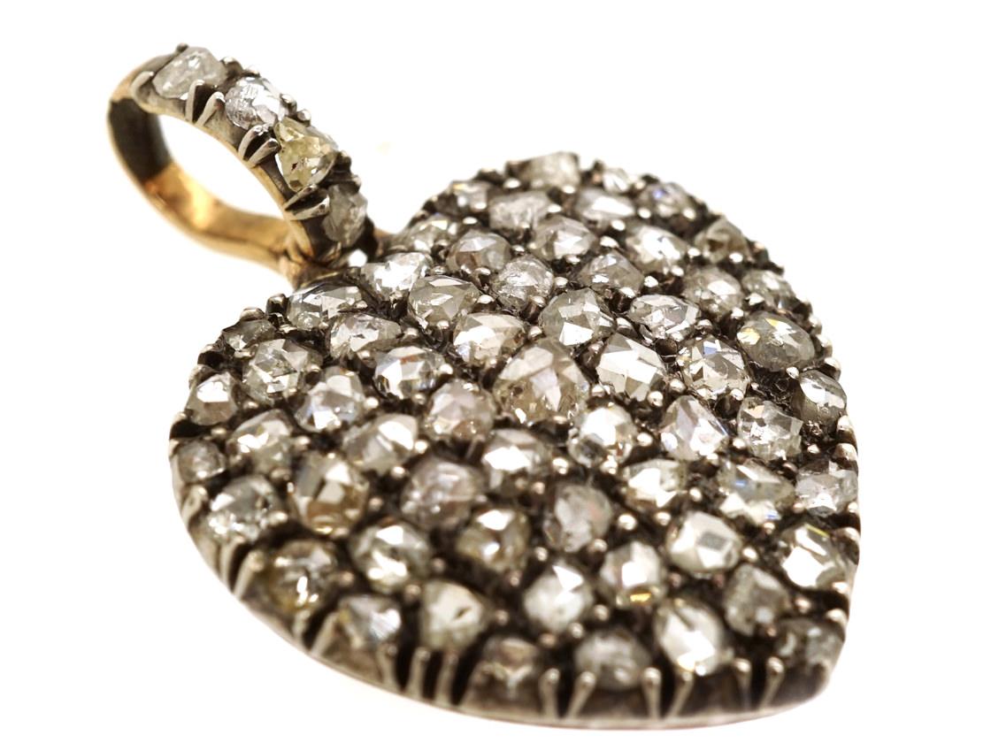 Edwardian Rose Diamond Heart Pendant