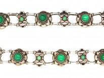 Danish Arts & Crafts Silver & Green Chalcedony Necklace by R.B. Halvordersen