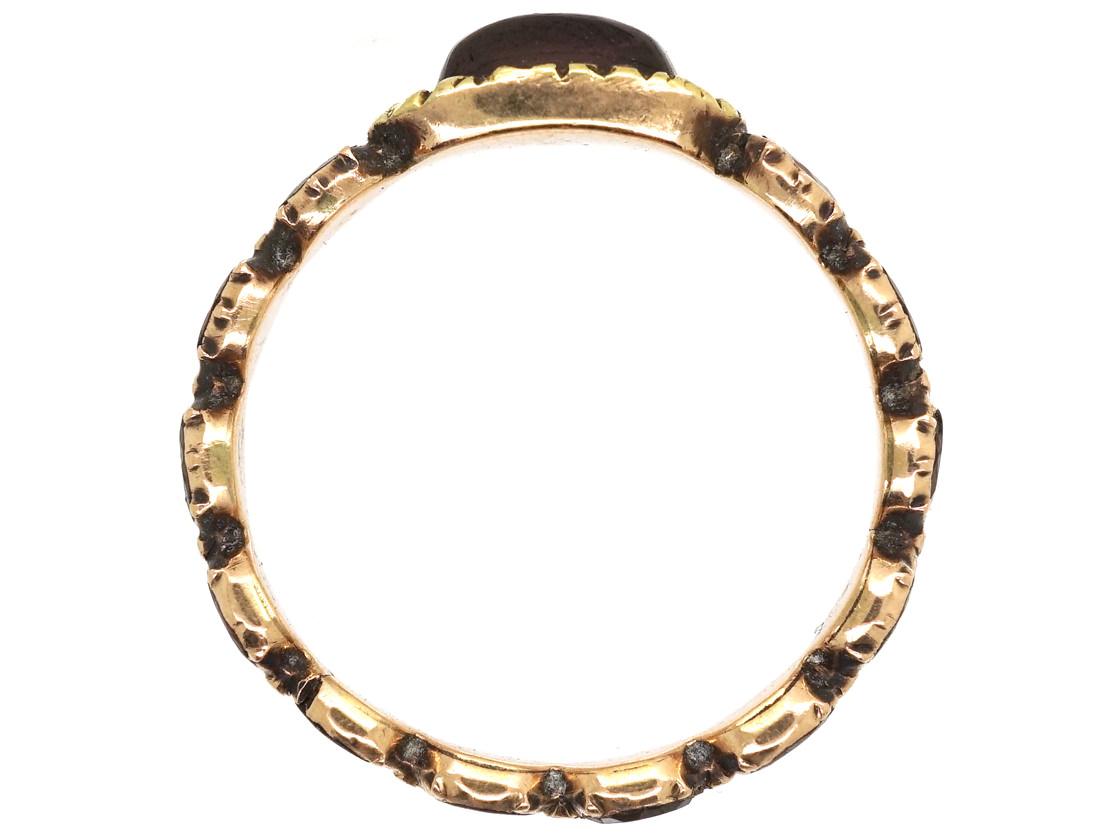 Georgian Flat Cut & Cabochon Garnet Eternity Ring