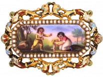 Early 19th Century 15ct Gold & Natural Split Pearl Swiss Enamel Brooch of Children Playing With a Dog