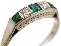 Art Deco 18ct Gold & Platinum, Emerald & Diamond Five Stone Ring