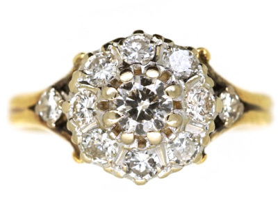 Edwardian 18ct Gold Diamond Cluster Ring With Diamond Shoulders