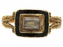 Georgian 9ct Gold & Black Enamel Memorial Ring