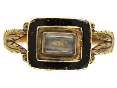 Georgian 9ct Gold & Black Enamel Memorial Ring