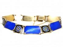 Norwegian Silver Gilt & Blue & Black Enamel Bracelet