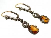 Art Deco Silver, Citrine & Marcasite Drop Earrings