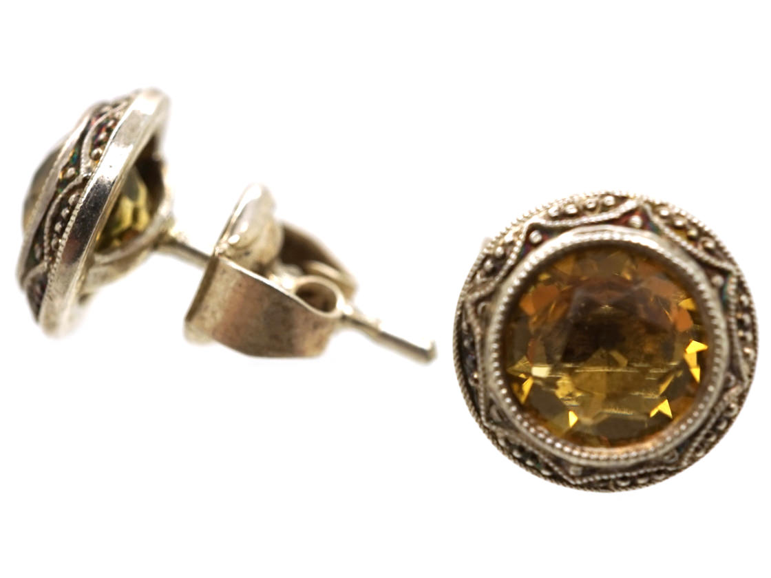 Art Deco Silver & Citrine Round Earrings