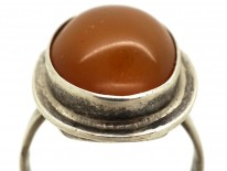 Cabochon Amber & Silver Oval Ring