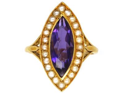 Edwardian 15ct Gold, Amethyst & Natural Split Pearl Marquise Ring by Murrle Bennett