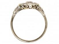 Art Deco Platinum & Diamond Rectangular Ring with Diamond Shoulders