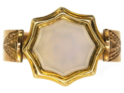 Victorian 15ct Gold & Bloodstone & Chalcedony Swivel Signet Ring