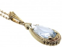 Art Deco Synthetic Blue Spinel Pendant on Silver Chain