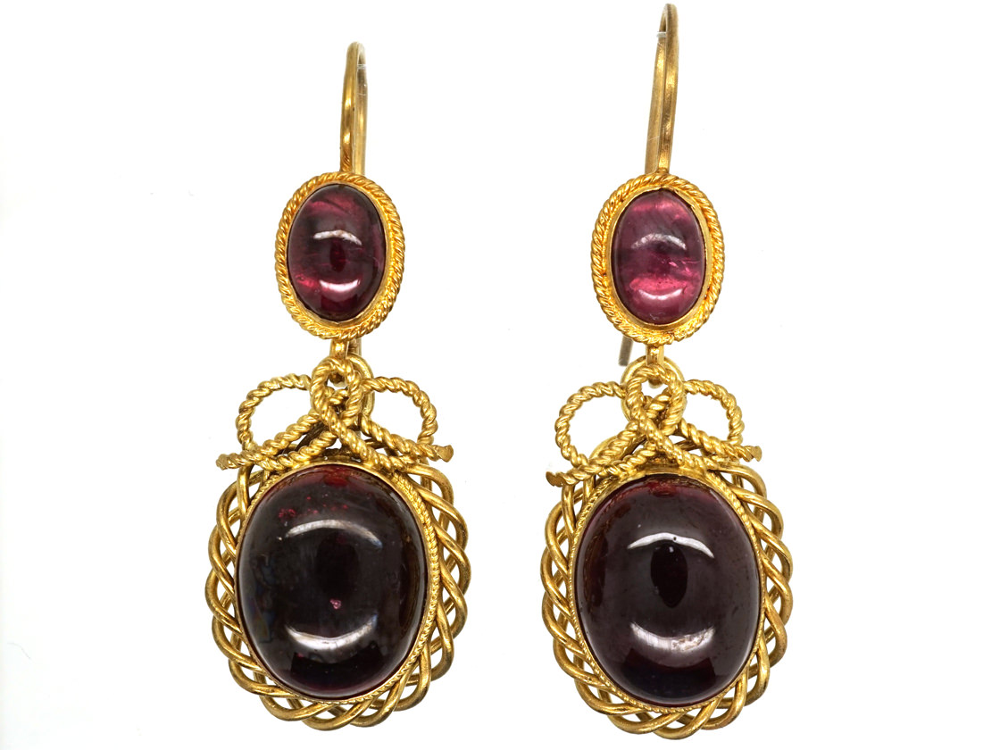 Victorian 15ct Gold & Cabochon Garnet Drop Earrings