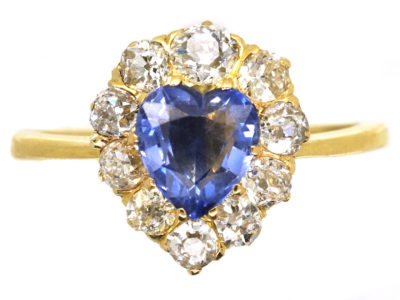 18ct Gold, Diamond & Sapphire Heart Shaped Ring