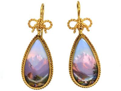 15ct Gold Swiss Enamel Drop Earrings
