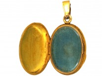 Victorian 18ct Gold Oval Locket Set With a Diamond