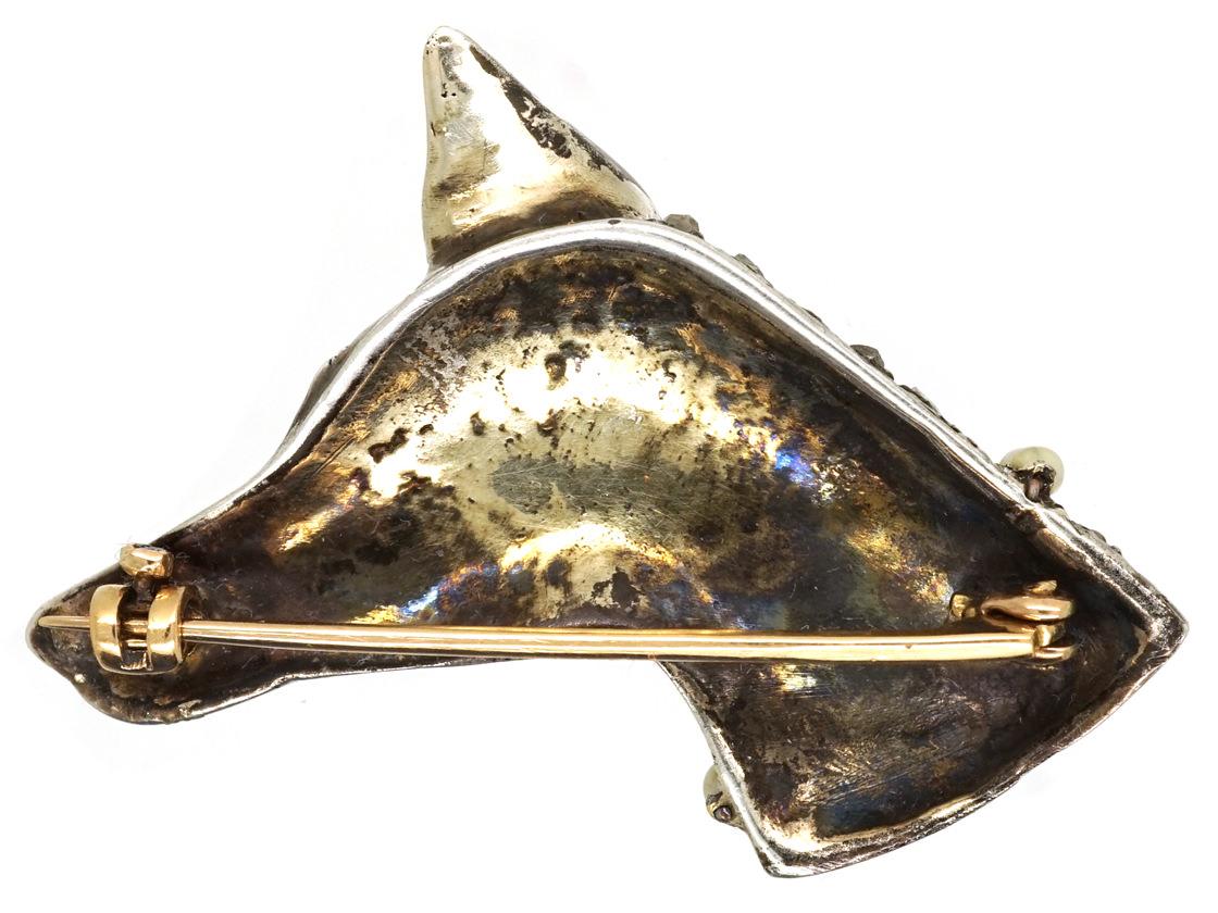 Edwardian Rose Diamond & Seed Pearl Dog Brooch