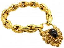 15ct Gold Bracelet With Cabochon Garnet Padlock