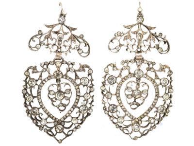 Large Silver & Paste Heart Shaped Drop Earrings