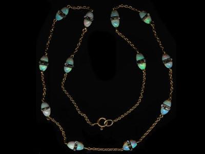 Edwardian 15ct Gold, Opal & Rock Crystal Chain