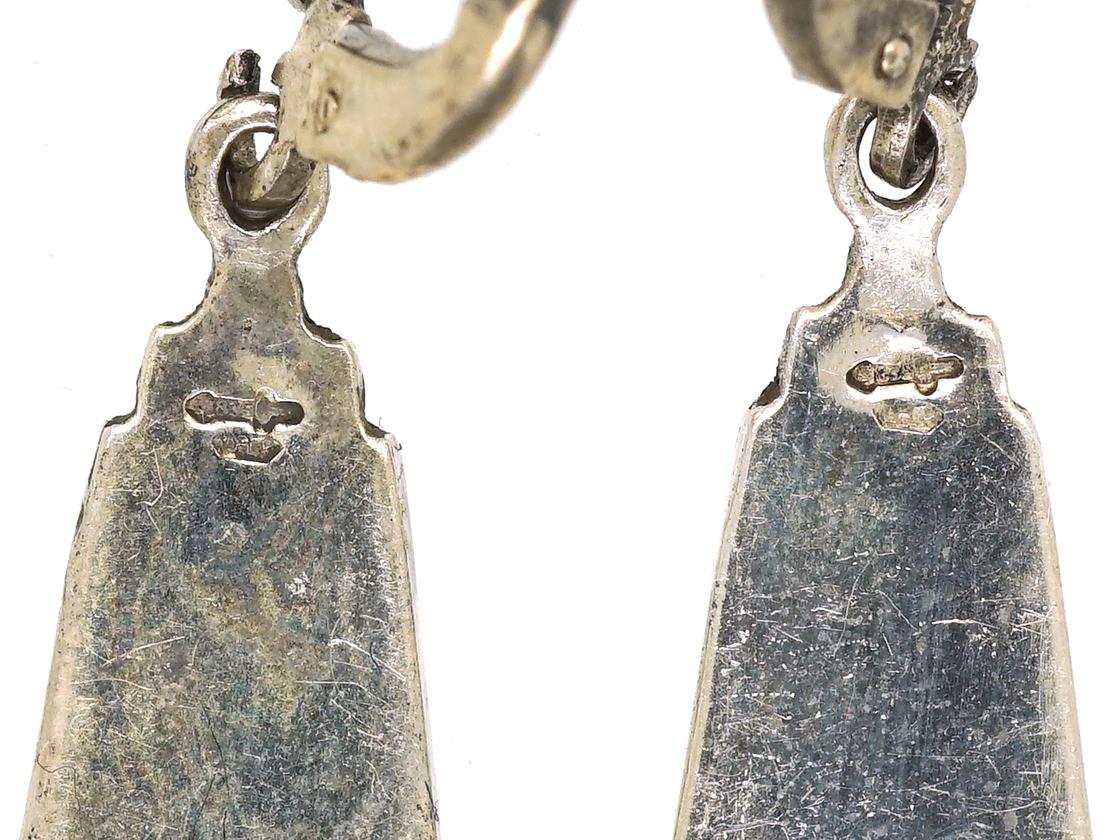 Art Deco Silver, Marcasite & Enamel Earrings