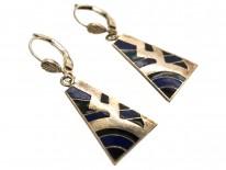 Art Deco Silver, Blue & Black Enamel Earrings