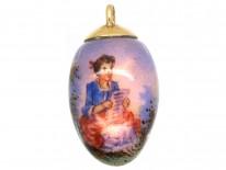 Edwardian Enamel Egg Pendant of a Lady in a Landscape