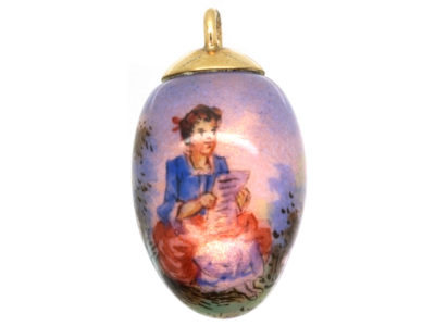 Edwardian Enamel Egg Pendant of a Lady in a Landscape