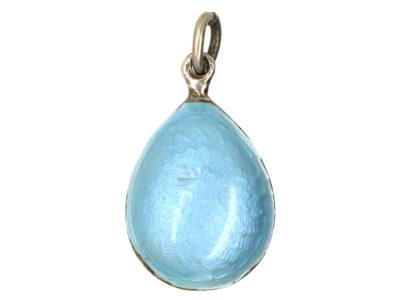 Pale Blue Enamel & Silver Easter Egg