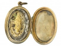Victorian 9ct Back & Front Oval Locket Set With Split Pearls & Turquoise