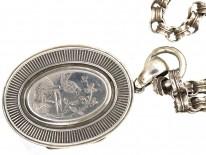 Victorian Oval Silver Bird Motif Locket on The Original Silver Chain